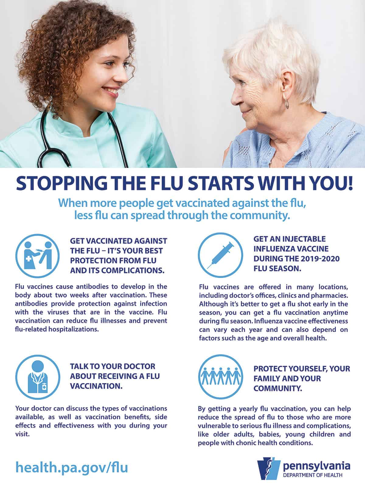 Flu fighting poster for long-term care facilities